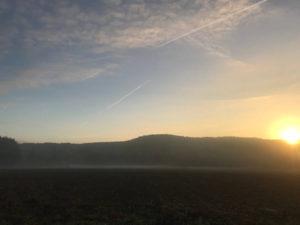 levé de soleil en septembre chez SARL Renard, maraîcher bio, yvelines 78