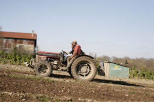 Olivier, Carlos et Tracteur, chez SARL Renard, producteur de légumes bio, 78